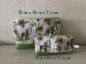 Kulturtaschen Set ❤️ Waschtische ❤️ Kosmetiktaschen ❤️ Mädchen ❤️ Unikat - Pferde grün  - Handarbeit kaufen