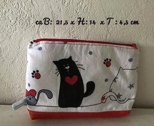 Kulturtasche ❤️ Kosmetiktasche ❤️ Waschtasche ❤️ Unikat - Katzen - Handarbeit kaufen
