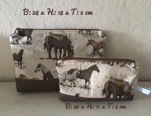 Kulturtaschen Set ❤️ Waschtische ❤️ Kosmetiktaschen ❤️ Mädchen ❤️ Unikat - Pferde braun