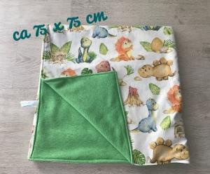 Babydecke  ❤️ Winterdecke ❤️kuschlig ❤️ Geschenk ❤️ Unikat -  Dinos grün - Handarbeit kaufen