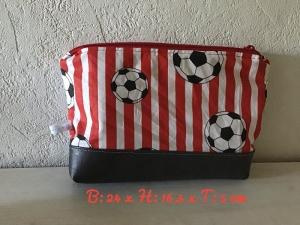 Kulturtasche ❤️ Kosmetiktasche ❤️ Waschtasche ❤️ Unikat - Fußball rot - Handarbeit kaufen