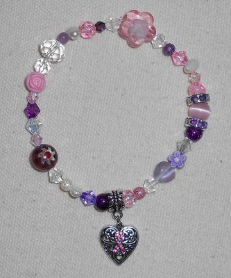 Glitzerndes Armband - Pink Ribbon