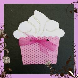 Grußkarte - Muffin mit Schleife