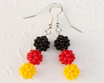 Fan - Ohrringe: Deutschland ~ schwarz, rot, gelb - Handarbeit kaufen