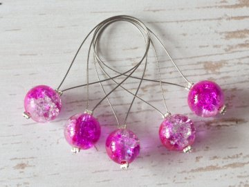5 Maschenmarkierer: Crackle ~ Pink - Klar (Transparent ~ 10mm