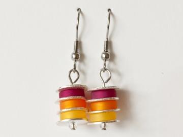 Scheibchenweise: Ohrringe aus Polarisperlen in Himbeerrot (Pink), Marille (Orange), Sonnengelb - Handarbeit kaufen
