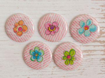 Bunte Blumen ~ 5 Kühlschrankmagnete im Set - Handarbeit kaufen