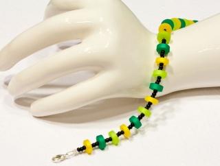 Armband aus Polarisscheiben in den Farben Grün, Gelb und Schwarz - Handarbeit kaufen