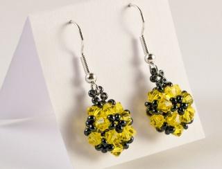Ohrringe: glitzernde Blumenkugel ~ Citrin (Gelb)