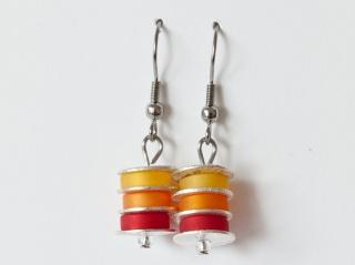 Scheibchenweise: Ohrringe aus Polarisperlen in Sonnengelb, Marille (Orange) und Rot - Handarbeit kaufen