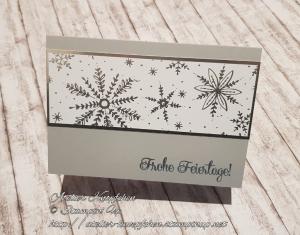 Silbergrau ~ Weihnachtskarte mit glänzenden Schneeflocken - Handarbeit kaufen