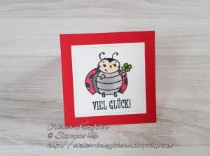 Mini-Grußkarte: Viel Glück! ~ mit Marienkäfer und Kleeblatt - Handarbeit kaufen