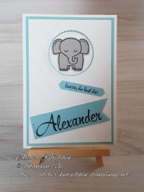 Personalisierte Karte zur Geburt ~ blau - Handarbeit kaufen