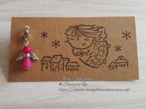 Charm / Anhänger: Engel aus Polarisperlen ~ Himbeerrot (Pink) - Handarbeit kaufen