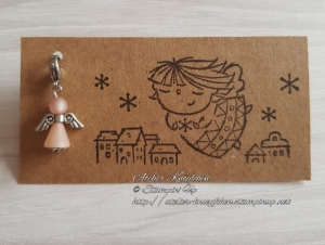 Charm / Anhänger: Engel aus Polarisperlen ~ Altrosa - Handarbeit kaufen