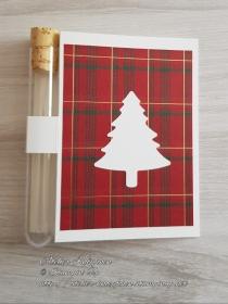Wunscherfüllerkarte zu Weihnachten: Weißer Tannenbaum auf Karos - Handarbeit kaufen