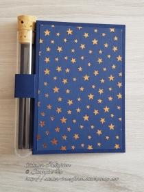 Wunscherfüllerkarte zu Weihnachten: kupferfarbener Sternenhimmel