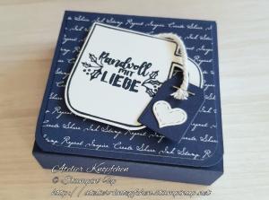 Teebeutelbuch: Tasse randvoll mit Liebe ~ Marineblau - Handarbeit kaufen