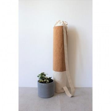 Mattentasche aus Kunstleder, Baumwolle und Kork ivory hellbraun weiß [vegan]