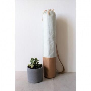 Mattentasche aus Kunstleder und Baumwolle kupfer weiß pistazie [vegan]