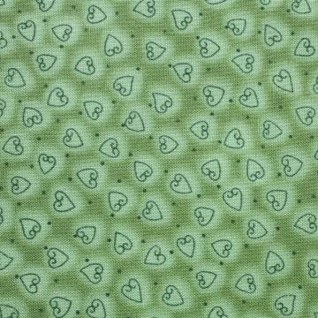 Patchworkstoff Herz Herzchen grün Basicstoff Baumwolle