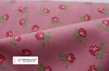 Cord Feincord Rose Miniblüten Rosenstoff altrosa
