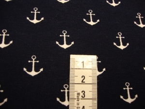 Baumwolljersey Druck maritim 1,50cm Große weiße kleine Anker auf dunkelblau - Handarbeit kaufen