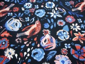 Baumwolljersey Blumen Vögel auf marine FLOWER BIRD