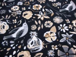 Baumwolljersey Blumen Vögel auf schwarz beige LOWER BIRD