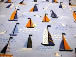 Baumwolljersey maritim kleine Segelboote Möwen, hellblau blau ÖkoTex