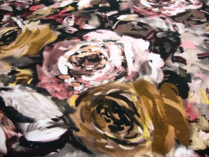 Baumwolljersey Digitaldruck Rosen Blumen de Fleurs -braun -Öko-Tex