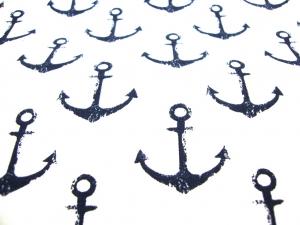 French Terry Sommersweat mit 3,50cm große Anker, schwarz/weiß maritim