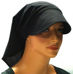 Kopftuch schwarz mit Schild handgefertigt aus 100% Baumwolle  Sommer Chemo Cabriotuch Alopezie