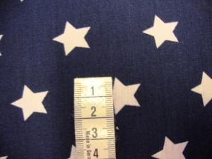 Baumwollstoff mit 2cm großen weiße Sterne auf marine - Handarbeit kaufen