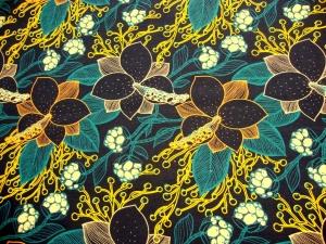 Herbstzeit Blumen- Limited Edition, French Terry dunkelblau petrol - Handarbeit kaufen