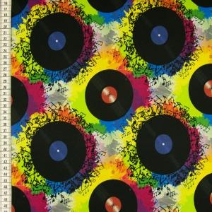 Baumwolljersey Digitaldruck Jersey Stoff Schallplatten mit bunten Musiknoten - Handarbeit kaufen