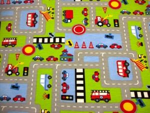 Baumwolljersey Stadtstraße Jersey Auto Straße Spielteppich Feuerwehr Bus Bagger Ampeln auf grau* Mädchen Junge Baby Kind Stoff Kinderstoff Jersey - Handarbeit kaufen