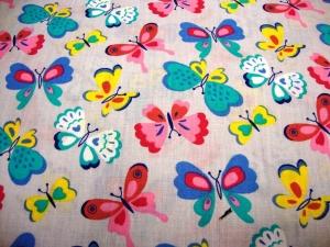 Baumwollstoff bunte Schmetterlinge auf hellgrau Öko Tex Schmetterlinge grau rosa pink petrol gelb blau Mädchen Baby Kind Stoff Kinderstoff - Handarbeit kaufen