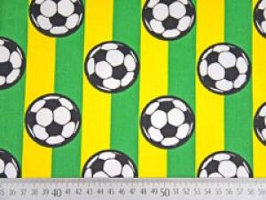 Baumwollstoff Fußbälle gelb grün gestreift mit Fußball jungsstoffe - Handarbeit kaufen
