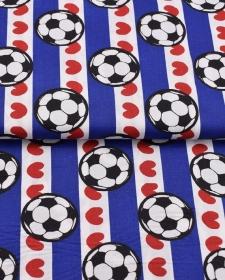 Baumwollstoff Fußbälle weiß blau mit roten Herzen gestreift blau weiß mit Herzen mit Fußball jungsstoffe Fußballfans - Handarbeit kaufen