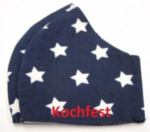 Mund und Nasen Masken in zwei Größen Kochfest mit Aufnahme für zusätzliche Einlagen, wiederverwendbar Behelfsmaske Gesichtsmaske mit weisse großen Sterne auf blau  - Handarbeit kaufen