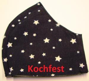 Mund und Nasen Masken in zwei Größen Männer und Frauen Kochfest mit Aufnahme für zusätzliche Einlagen, wiederverwendbar Behelfsmaske Gesichtsmaske mit weisse Sterne auf blau  - Handarbeit kaufen