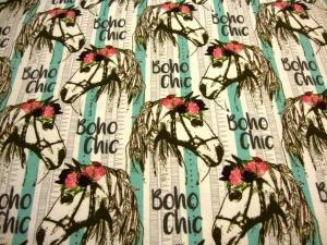 Baumwolljersey Jersey Druck - Pferde Boho Chic mit Rosen Stylemit für Mädchen Limited Edition – Premium Collection - Handarbeit kaufen