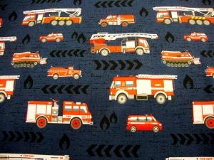 Baumwolljersey Feuerwehr & Co, auf marine limitierte Auflage Kindestoffe - Handarbeit kaufen