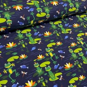 Baumwolljersey Druck - Frösche – Premium Collection grüner Frosch auf dunkelblau für alle Froschliebhaber Kinderstoff  - Handarbeit kaufen