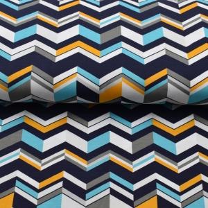 Baumwolljersey Druck mit Zick Zack angesagten Farben Limited Edition Baumwolljersey Malia Design Chevron - Handarbeit kaufen