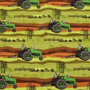 Baumwolljersey - Jersey Stoff - Held vom Feld – KATINOH - Bauer mit Traktor auf dem Feld limitierte Auflage - Handarbeit kaufen