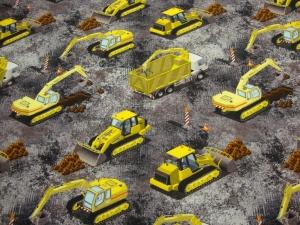 Baumwolljersey Baustelle -auf der Baustelle KATINOH Bagger Schieber Laster und vieles mehr limitierte Auflage Kinderstoffe gemustert - Handarbeit kaufen