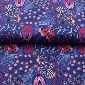 Baumwolljersey Maritim Druck mit Unterwasserwelt angesagte Farben Limited Edition lila rosa blau - Handarbeit kaufen