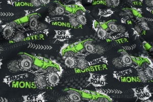 Baumwolljersey Druck Monstertruck weiße grüne Trucks auf schwarz für Jungs und Männer limitierte Auflage - Handarbeit kaufen